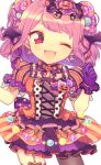 1girl ;d back_bow bang_dream! bangs black_neckwear bow bowtie candy_hair_ornament clenched_hand cross-laced_clothes dress earrings food_themed_hair_ornament garter_straps ghost gloves hair_ornament halloween halloween_costume head_wings jack-o'-lantern jewelry looking_at_viewer maruyama_aya mismatched_legwear one_eye_closed open_mouth pantyhose pink_eyes pink_hair polka_dot_neckwear pompom_daria print_bow purple_bow purple_gloves short_sleeves simple_background single_leg_pantyhose smile solo star star_print striped striped_dress white_background