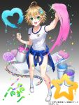 1girl :d ahoge apple_caramel blonde_hair blue_shorts bucket company_name flower gradient gradient_background green_eyes grey_background hair_flower hair_ornament hairclip mahou_tsukai_to_kuroneko_no_wiz marker official_art open_mouth paint paintbrush painting paper_chain shirt short_hair short_shorts short_sleeves shorts smile socks solo watermark white_footwear white_legwear white_shirt