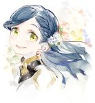 1girl bangs blue_hair code-aa flower hair_flower hair_ornament highres honzuki_no_gekokujou long_hair looking_at_viewer maine_(honzuki_no_gekokujou) portrait simple_background smile solo white_background yellow_eyes