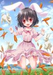 animal_ears barefoot belt belt_buckle black_hair breasts buckle carrot dress inaba_tewi long_skirt moon open_mouth rabbit rabbit_ears red_eyes short_hair short_sleeves skirt smile touhou yamu_(reverse_noise)