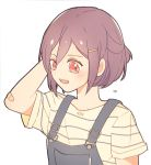 1girl bandaid_on_elbow bang_dream! flying_sweatdrops hair_ornament hairpin half_updo hand_behind_head open_mouth overalls red_eyes seri_(vyrlw) seta_kaoru shirt short_hair short_sleeves simple_background solo striped striped_shirt upper_body white_background younger