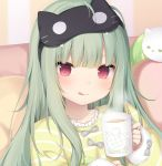 1girl :q amashiro_natsuki bow closed_mouth collarbone commentary_request cup frilled_shirt frills green_hair grey_bow holding holding_cup long_hair long_sleeves looking_at_viewer mask mask_on_head mug original pillow red_eyes shirt sleep_mask sleeves_past_wrists smile solo steam striped striped_shirt tongue tongue_out upper_body yellow_shirt