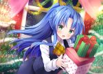 1girl :d bangs black_skirt black_vest blue_hair blurry blurry_background blush box christmas christmas_ornaments christmas_tree collared_shirt commentary_request depth_of_field eyebrows_visible_through_hair gift gift_box green_eyes holding holding_gift indoors long_hair long_sleeves looking_at_viewer masayo_(gin_no_ame) open_mouth original parted_bangs plaid_neckwear ponytail shirt skirt smile solo uniform very_long_hair vest white_shirt window yellow_neckwear