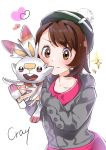1girl artist_name bangs bob_cut brown_eyes brown_hair cardigan commentary_request cray green_headwear grey_cardigan hat heart highres holding holding_pokemon long_sleeves pokemon pokemon_(creature) pokemon_(game) pokemon_swsh scorbunny short_hair signature simple_background smile sparkle tam_o'_shanter white_background yuuri_(pokemon)