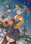 1girl :3 absurdres ahoge bloomers blue_dress blue_eyes blue_hair blue_sky brown_footwear brown_gloves brown_legwear buttons dress gloves green_backpack green_headwear hair_bobbles hair_ornament highres kappa kawashiro_nitori lily_pad long_sleeves minigirl outdoors overalls pale_skin penzai_fengli rain safety_glasses safety_goggles shirt shorts sky smile standing touhou two_side_up underwear visor_cap watermark wire wire_cutters yellow_shirt