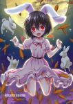 animal_ears barefoot belt belt_buckle black_hair breasts buckle carrot dress inaba_tewi long_skirt moon open_mouth rabbit rabbit_ears red_eyes short_hair short_sleeves skirt smile thighs touhou yamu_(reverse_noise)