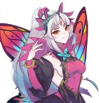 1girl absurdres blue_hair breasts closed_mouth fairy_wings fire_emblem fire_emblem_heroes grey_hair highres lazymimium long_hair multicolored_hair plumeria_(fire_emblem) pointy_ears ponytail red_eyes sideboob simple_background solo twitter_username upper_body white_background wings