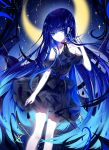 1girl absurdres artist_name bangs bare_shoulders black_dress blue_eyes blue_hair blue_nails crescent_moon dress feet_out_of_frame hand_up highres long_hair looking_at_viewer moon nail_polish original sheya short_dress shoulder_cutout signature smile solo standing very_long_hair