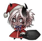 1girl :> bangs capelet chibi christmas commentary dark_skin english_commentary hair_between_eyes hat holding holding_sack horns less looking_at_viewer meme original padoru pointy_ears pom_pom_(clothes) ponytail red_capelet red_headwear sack santa_costume santa_hat silver_hair simple_background smile solo v-shaped_eyebrows white_background