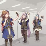 >:) 3girls aiba_aina aqua_hair ayasaka bang_dream! bangs black_footwear black_legwear black_vest blue_headwear blue_jacket boots brown_hair cellphone collared_shirt commentary_request epaulettes grey_hair half_updo hand_on_hip heart hikawa_sayo holding holding_phone indoors jacket knee_boots kudou_haruka_(seiyuu) long_hair long_sleeves minato_yukina multiple_girls musical_note nakashima_yuki neck_ribbon overskirt pantyhose phone photo-referenced pinky_out pose ribbon seiyuu_connection self_shot shirt short_sleeves skirt smartphone smile sparkle standing vest white_shirt