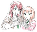 >:) 2girls bandaged_hand bang_dream! bangs blazer blue_eyes blush collared_shirt green_eyes green_neckwear grey_jacket grin jacket long_hair long_sleeves low_twintails multiple_girls necktie outstretched_hand pale_color partially_colored pink_cardigan re_ghotion redhead shirt short_twintails simple_background sketch sleeves_pushed_up smile twintails udagawa_tomoe uehara_himari upper_body v-shaped_eyebrows white_background
