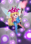 1girl :d absurdres american_flag_legwear american_flag_shirt arm_behind_back arms_up black_background blonde_hair clownpiece commentary_request danmaku eyebrows_visible_through_hair fairy_wings floating foreshortening hat highres holding_torch jester_cap kanonari light_particles long_hair looking_at_viewer moon open_mouth outstretched_arms partial_commentary polka_dot_hat purple_headwear red_eyes smile solo spread_arms torch touhou very_long_hair wings