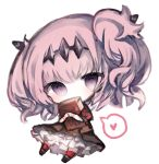 1girl bangs black_dress black_footwear blush book chibi commentary_request cottontailtokki covered_mouth dress fran_(shadowverse) full_body headpiece heart kneehighs looking_at_viewer object_hug pink_hair puffy_short_sleeves puffy_sleeves red_legwear shadowverse shingeki_no_bahamut short_sleeves simple_background solo spoken_heart two_side_up violet_eyes white_background