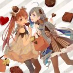 2girls ahoge alternate_costume bag black_dress brown_eyes brown_hair brown_legwear candy chocolate colis dress fang feet_out_of_frame food frilled_dress frills from_behind grey_eyes grey_hair hair_between_eyes hair_bun hair_ornament hair_ribbon hat heart kantai_collection kiyoshimo_(kantai_collection) libeccio_(kantai_collection) lollipop long_hair looking_at_viewer looking_back low_twintails mini_hat multiple_girls open_mouth pantyhose petticoat polka_dot polka_dot_dress ribbon smile striped striped_background tan twintails