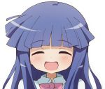 1girl :d ^_^ bangs blue_hair blush bow bowtie closed_eyes collared_shirt ddak5843 eyebrows_visible_through_hair facing_viewer furude_rika higurashi_no_naku_koro_ni long_hair open_mouth pink_neckwear portrait shirt simple_background smile solo white_background white_shirt