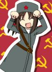 1girl animated animated_gif artist_request caramelldansen character_request closed_eyes communism hammer_and_sickle military military_uniform papakha red_background red_star source_request trench_coat uniform