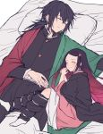 .com_(cu_105) 1boy 1girl ^_^ bangs belt belt_buckle black_hair black_jacket black_pants blush buckle closed_eyes closed_mouth forehead futon gradient_hair hair_ribbon jacket japanese_clothes kamado_nezuko kimetsu_no_yaiba kimono knees_up long_hair long_sleeves lying multicolored_hair on_back on_bed on_side open_clothes pants parted_bangs parted_lips pillow pink_kimono pink_ribbon redhead ribbon simple_background sleeping smile tomioka_giyuu very_long_hair white_background white_belt white_legwear
