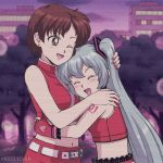 2girls anime_coloring aqua_hair arms_around_waist bare_shoulders belt blush brown_eyes brown_hair city closed_eyes commentary crop_top earrings english_commentary fingerless_gloves frilled_skirt frills gloves hand_on_another's_head hand_on_another's_shoulder hatsune_miku heart heart_print hug jewelry lipstick long_hair makeup meiko midriff multiple_girls mutual_hug nail_polish navel nieceychan one_eye_closed open_mouth outdoors red_gloves red_nails red_shirt red_skirt retro scanlines shirt short_hair shoulder_tattoo skirt sleeveless sleeveless_shirt smile tattoo tree twilight twintails upper_body very_long_hair vocaloid zipper