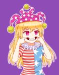 1girl american_flag_dress american_flag_shirt blonde_hair chomae clownpiece evil_smile fairy forced_smile hat highres jester_cap neck_ruff pink_eyes polka_dot polka_dot_hat smile star star_print striped touhou