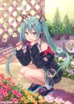 1girl aqua_eyes aqua_hair bubble bubble_blowing character_name commentary_request flower fukahire_(ruinon) hair_between_eyes hatsune_miku headphones highres jacket long_hair looking_at_viewer nail_polish off_shoulder outdoors plant potted_plant shoes skirt sneakers solo squatting twintails very_long_hair vocaloid