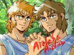 blonde_hair brothers brown_hair leo_aiolia sagittarius_aiolos saint_seiya satoru80826 siblings smile