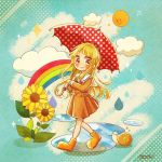 >_< 1girl bang_dream! blonde_hair blush boots brown_dress clouds commentary_request dress faux_traditional_media flower hanasakigawa_school_uniform holding holding_umbrella long_hair long_sleeves looking_at_viewer pleated_dress polka_dot polka_dot_umbrella puddle rain rainbow ruppi_ko sailor_dress school_uniform signature smile snail solo sparkle sun sunflower tsurumaki_kokoro umbrella walking yellow_eyes