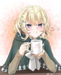 1girl alternate_costume blonde_hair blue_eyes blush cloak coffee coffee_cup coffee_mug colorado_(kantai_collection) cup disposable_cup hair_ornament hairpin heart heart_print hood hooded_cloak kantai_collection mug print_mug short_hair side_braids sweater tsukimura_(d24f4z8j3t) twitter_username