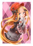 1girl abigail_williams_(fate/grand_order) argyle argyle_background bangs black_bow black_jacket blonde_hair blue_eyes blush border bow breasts fate/grand_order fate_(series) forehead grey_sweater hair_bow highres jacket long_hair long_sleeves looking_at_viewer mittens multiple_bows mumu_yu_mu open_mouth orange_bow orange_headwear parted_bangs pink_background polka_dot polka_dot_bow smile solo sweater white_border