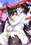 2girls aiguillette animal_ears artist_name ass ass_grab atago_(azur_lane) azur_lane bangs black_hair black_legwear blush bow breasts brown_eyes english_commentary epaulettes extra_ears eyebrows_visible_through_hair from_behind gainoob gloves hair_bow hair_flaps hair_ribbon large_breasts long_hair looking_at_viewer looking_back military military_uniform miniskirt mole mole_under_eye multiple_girls open_mouth outdoors pantyhose pleated_skirt ponytail ribbon signature skirt sky smile standing swept_bangs takao_(azur_lane) torii uniform very_long_hair white_bow white_gloves white_ribbon