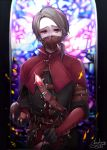 1boy aesop_carl artist_name belt black_gloves brown_eyes brown_hair chachong_sama fingerless_gloves gloves highres identity_v indoors looking_at_viewer male_focus paintbrush red_nails solo stained_glass standing surgical_mask