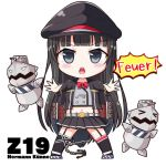 1girl asymmetrical_legwear azur_lane bangs black_hair black_jacket black_legwear black_skirt blunt_bangs blush chibi commentary_request eyebrows_visible_through_hair full_body garter_straps german_text grey_eyes hat hime_cut jacket legs_apart long_hair looking_at_viewer midriff military_hat miniskirt navel neck_ribbon open_clothes open_jacket open_mouth peaked_cap pleated_skirt red_ribbon ribbon simple_background skirt solo straight_hair thigh-highs upper_teeth v-necker very_long_hair white_background z19_hermann_kunne_(azur_lane)
