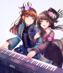 2girls :3 :d akesaka_satomi aqua_jacket bang_dream! bangs black_choker black_dress black_hair black_headwear black_ribbon blue_dress blue_feathers blue_flower blue_rose blush brown_eyes brown_hair choker clock corsage cross-laced_clothes crown dress earrings feathers flower frilled_shirt_collar frills grey_background hair_feathers hairband hand_on_another's_hand hat hat_chain hat_flower hat_ribbon highres hiroki_(yyqw7151) holding_arm instrument jacket jewelry long_sleeves looking_at_another multiple_girls music open_mouth pink_flower pink_rose playing_instrument purple_feathers ribbon roland_(company) rose seiyuu seiyuu_connection shirokane_rinko smile synthesizer violet_eyes
