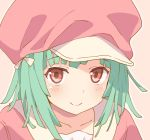 1girl bakemonogatari bangs blush brown_background cabbie_hat closed_mouth collarbone ddak5843 eyebrows_visible_through_hair green_hair hat jacket looking_at_viewer monogatari_(series) outline pink_headwear pink_jacket red_eyes sengoku_nadeko smile solo upper_body white_outline
