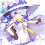 1girl aqua_nails blue_bow blue_collar blue_eyes bow cloak collar collared_dress commentary dera_fury dress fingerless_gloves gloves hand_on_hip hat hat_bow hatsune_miku large_hat light_blue_hair long_hair looking_at_viewer nail_polish necktie one_eye_closed outstretched_arm purple_gloves sleeveless sleeveless_dress smile snowflake_ornament snowflakes solo sparkle treble_clef twintails upper_body vocaloid white_cloak white_dress witch_hat yellow_neckwear yuki_miku yuki_miku_(2014)