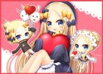 3girls :d abigail_williams_(fate/grand_order) balloon bangs black_bow black_dress black_headwear black_jacket blonde_hair bloomers blue_eyes blush border bow braid butterfly_hair_ornament chibi closed_mouth commentary_request dress eyebrows_visible_through_hair fate/grand_order fate_(series) forehead fou_(fate/grand_order) hair_bow hair_bun hair_ornament hat heart heroic_spirit_festival_outfit heroic_spirit_traveling_outfit holding holding_balloon holding_tray jacket knees_up long_hair long_sleeves medjed multiple_girls open_mouth orange_bow parted_bangs polka_dot polka_dot_bow red_border red_footwear shirt sitting sleeveless sleeveless_dress sleeves_past_fingers sleeves_past_wrists smile tray underwear upper_teeth very_long_hair white_bloomers white_shirt yukiyuki_441