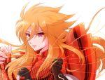 armor benetnasch_eta_mime long_hair lyre open_mouth orange_hair red_eyes saint_seiya simple_background strings tatebanashi