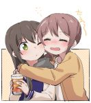 2girls ;o alcohol bang_dream! bangs beer black_hair blush brown_hair cup drinking_glass drunk green_eyes gyaheung hanazono_tae holding holding_cup hug hug_from_behind jacket long_hair long_sleeves multiple_girls one_eye_closed polka_dot polka_dot_background ponytail sidelocks upper_body yamabuki_saaya yellow_jacket yuri