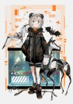 1girl bat bird blush bug dog fish grey_hair hair_ornament highres jacket jellsuimu mecha mecha_musume mechanical mechanization no_humans oldschool original robot science_fiction shoes short_hair snake spider