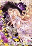 1boy 1girl blonde_hair blue_eyes blush bow censer crescent_moon dress dress_bow flower gem hand_on_another's_cheek hand_on_another's_face hand_up hetero highres holding_hands imminent_kiss leopard light_brown_hair long_hair moon night official_art purple_bow purple_sky ran_(artist) white_dress