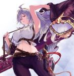 1girl ahoge armpits bangs bare_shoulders belt braid breasts buckle collared_shirt crop_top floating_hair granblue_fantasy hair_between_eyes holding holding_coat large_breasts long_hair looking_at_viewer midriff navel nos open_mouth partially_undressed shirt sidelocks silva_(granblue_fantasy) silver_hair sleeveless sleeveless_shirt solo twin_braids underbust very_long_hair wide_sleeves wind yellow_eyes