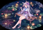 1girl animal_ear_fluff animal_ears aqua_eyes blue_eyes candy candy_apple floral_print flower food fox_ears fox_girl fuuro_(johnsonwade) hair_flower hair_ornament japanese_clothes kimono legs lily_pad long_hair obi original print_kimono sandals sash soaking_feet very_long_hair white_hair yukata