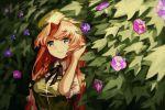 1girl :3 blue_eyes braid flower hat hong_meiling long_hair morning_glory plant redhead ribbon smile touhou washman711