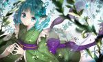 1girl animal_ears blue_eyes blue_hair bubble drill_hair frilled_kimono frills grass green_kimono head_fins japanese_clothes kimono long_sleeves looking_at_viewer mermaid monster_girl obi piyo_(sqn2idm751) plant sash short_hair sunlight touhou underwater wakasagihime water wide_sleeves