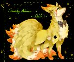 1other black_background blood blood_on_face bow bowtie closed_mouth full_body heart lassie looking_at_viewer multicolored_bow multiple_tails ninetales no_humans pokemon sidelocks simple_background smile solo standing star striped striped_bow tail