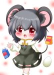 1girl :d animal_ears ankle_socks arm_behind_back arm_up black_footwear blurry blurry_background blush capelet chibi commentary_request cookie_(touhou) crossed_legs egg eyebrows_visible_through_hair feet_out_of_frame flour grey_hair grey_skirt grey_vest hair_between_eyes jewelry long_sleeves looking_at_viewer milk_carton mouse_ears mouse_tail nazrin nyon_(cookie) open_mouth pendant polka_dot polka_dot_background red_eyes shirt short_hair skirt smile solo standing tail touhou typo vest white_capelet white_legwear white_shirt yairenko