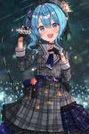 1girl audience belt belt_buckle beret black_gloves blue_eyes blue_hair blue_nails blue_neckwear blush buckle buttons choker crown eyebrows_visible_through_hair frilled_skirt frills gloves glowstick hair_between_eyes hat highres holding holding_microphone hololive hoshimachi_suisei long_sleeves looking_at_viewer medium_hair mi_taro333 microphone music nail_polish open_mouth partly_fingerless_gloves singing skirt solo star suisei_channel virtual_youtuber