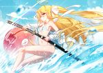 1girl animal bai_yemeng bangs bare_shoulders bikini blonde_hair blue_sky blurry blurry_foreground blush breasts closed_mouth clouds collarbone commentary_request day depth_of_field eyebrows_visible_through_hair fish floating_hair hair_between_eyes hair_ribbon holding holding_sheath holding_sword holding_weapon jacket katana long_hair off_shoulder open_clothes open_jacket original outdoors red_eyes ribbon sheath side-tie_bikini sky small_breasts smile solo striped striped_bikini swimsuit sword tokisaki_asaba two_side_up unsheathing very_long_hair water weapon white_jacket white_ribbon x_x