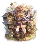 1girl :o adapted_costume ankle_boots aqua_hair belt_boots bird blouse boots brown_footwear brown_headwear bug butterfly closed_eyes commentary_request dappled_sunlight dove english_text fence flower flower_request glint grass hair_between_eyes hands_together hat hat_ribbon insect kneehighs komeiji_koishi light_rays love_letter off-shoulder_jacket picket_fence plant postbox_(outgoing_mail) ribbon sekisei_(superego51) short_sleeves shorts sitting solo sunbeam sunlight third_eye touhou vines wheel white_background white_legwear wooden_fence yellow_blouse