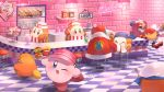 apron bandana_waddle_dee brick_wall can checkered checkered_floor food french_fries hamburger hat highres king_dedede kirby kirby_(series) looking_at_another looking_at_viewer magolor milkshake mr._bright mr._shine napkin ochanoda paint_roller_(kirby) roller_skates sailor_waddle_dee sink skates soda spoon waddle_dee