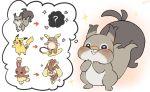 alolan_form alolan_raichu blush buneary directional_arrow gen_1_pokemon gen_4_pokemon gen_7_pokemon gen_8_pokemon heart lopunny no_humans pikachu pokemon pokemon_(creature) skwovet smile sparkle thinking